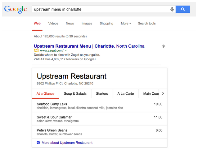 Upstream Menu in Charlotte