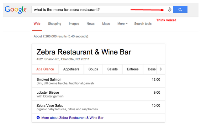 What is the menu for Zebra Restaurant?