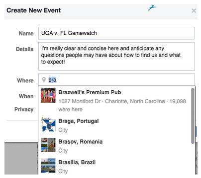 Create new event