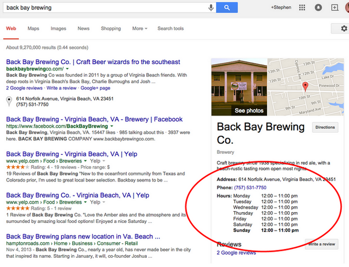 G+ business hours for Back Bay Brewing Co.