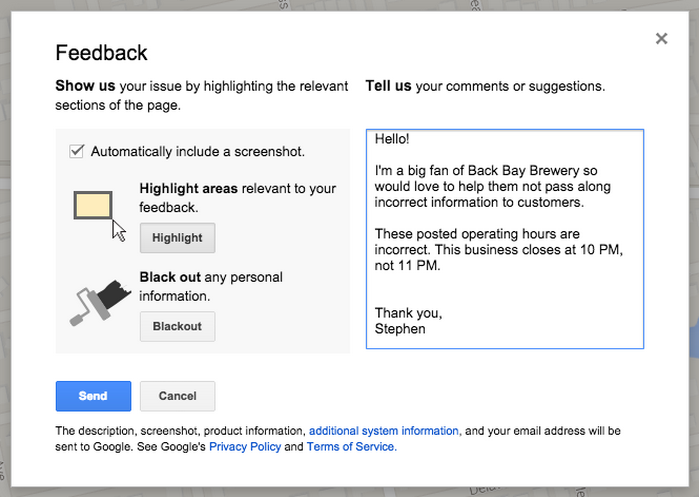 Feedback for G+ business hours