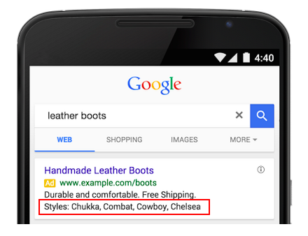 AdWords structured snippets look like on mobile