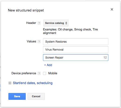 Structured snippet example