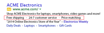 What AdWords callouts look like