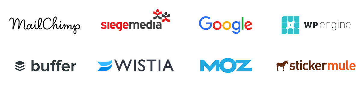 MailChimp, Siege Media, Google, WP Engine, Buffer, Wistia, Moz, Sticker Mule